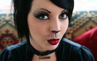 Макияж в стиле кошки на Хэллоуин