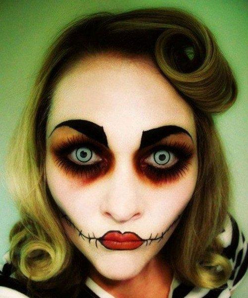 чёрные круги вокруг глаз в мейкапе на хэллоуин