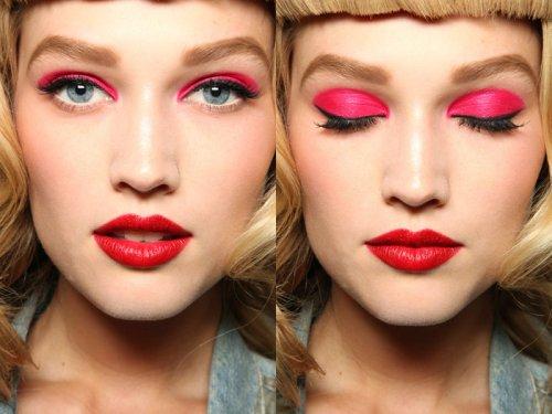 яркие розовые тени на глазах