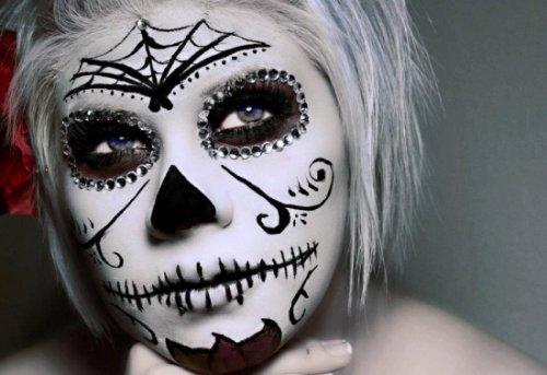 сахарный череп макияж на хэллоуин