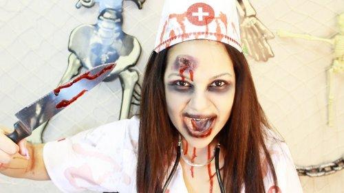макияж зомби-медсестры на хэллоуин
